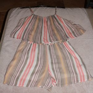 a.n.a Multi-color Striped Romper